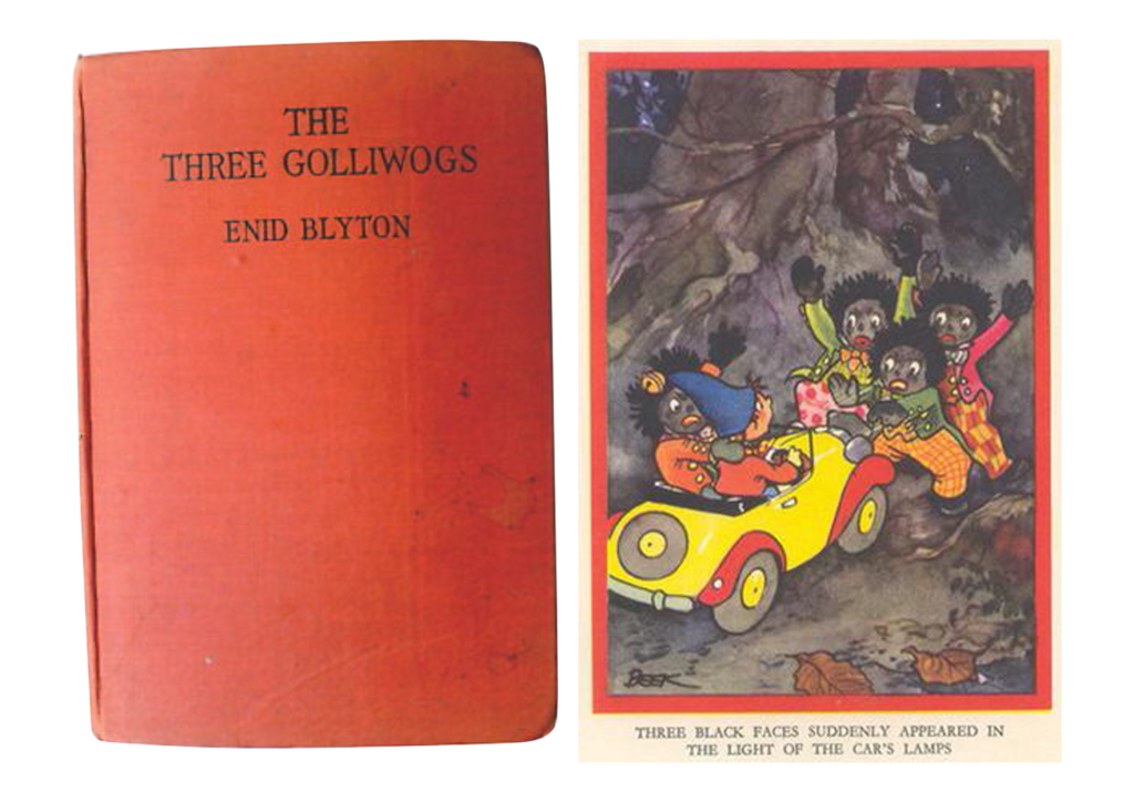 Enid Blyton's book 'The Three Gollywogs' and an illustration from the book depicting Gollywog characters as aggressive