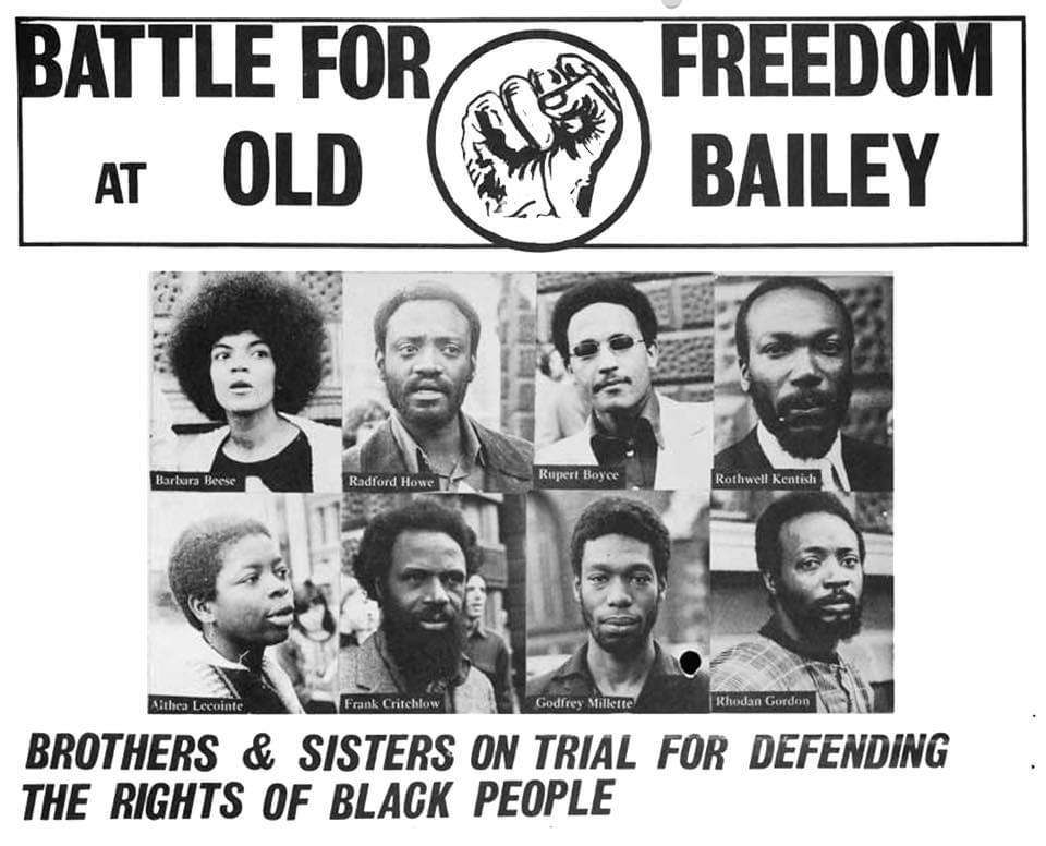 A poster showing headshots of the Mangrove Nine, with the title 'Battle For Freedom at Old Bailey'
