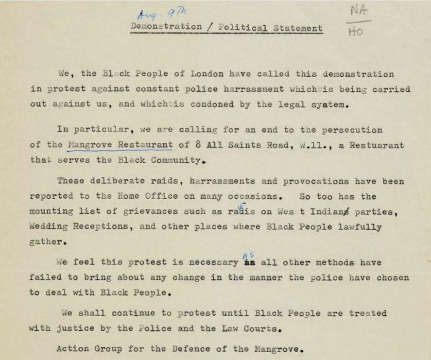 An copy of the open letter written to inform police of the demonstration due to take place in regards to persecution of the Mangrove