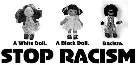 A 'Stop Racism' poster illustrating the difference between standard dolls and the offensive 'Gollywog' dolls
