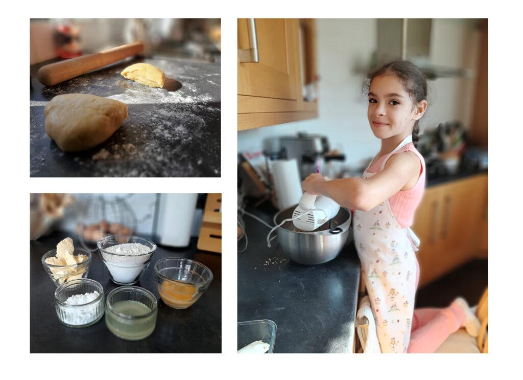 Photographs of some of the ingredients being prepared for the recipe, and a smiling young girl helping with the baking
