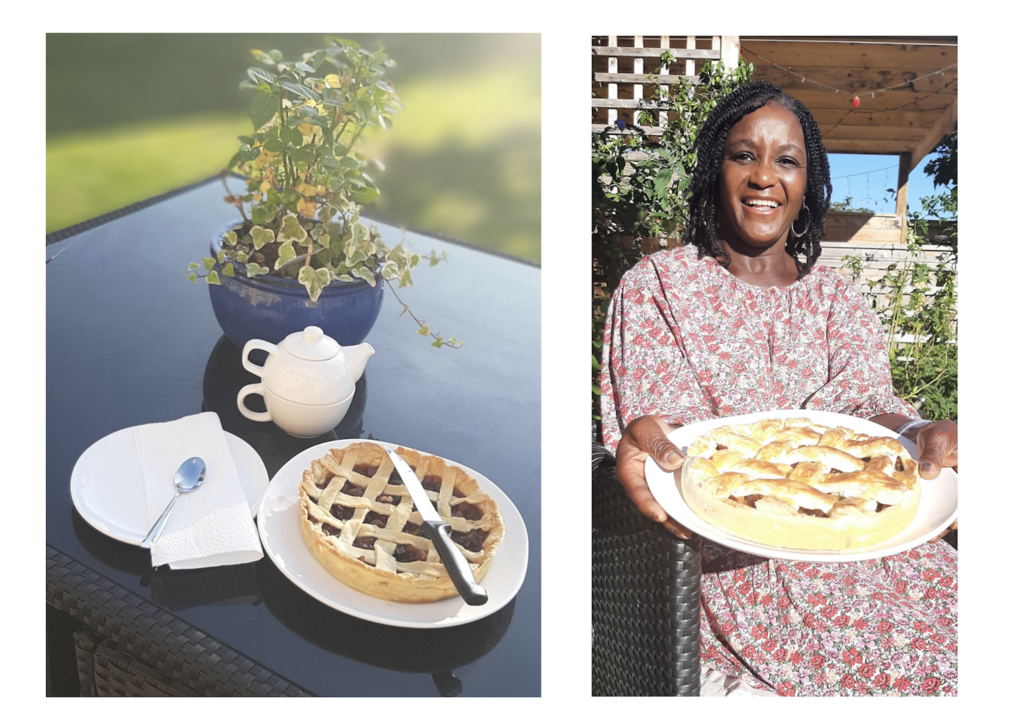 A photograph of a home baked Cumberland Rum Nicky, on the table with a teapot and green plant. Alongside a photograph of a smiling black woman holding her home baked dessert!